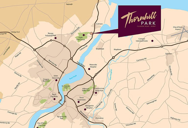 Thornhill Park - Culmore Road, Derry, Location Map