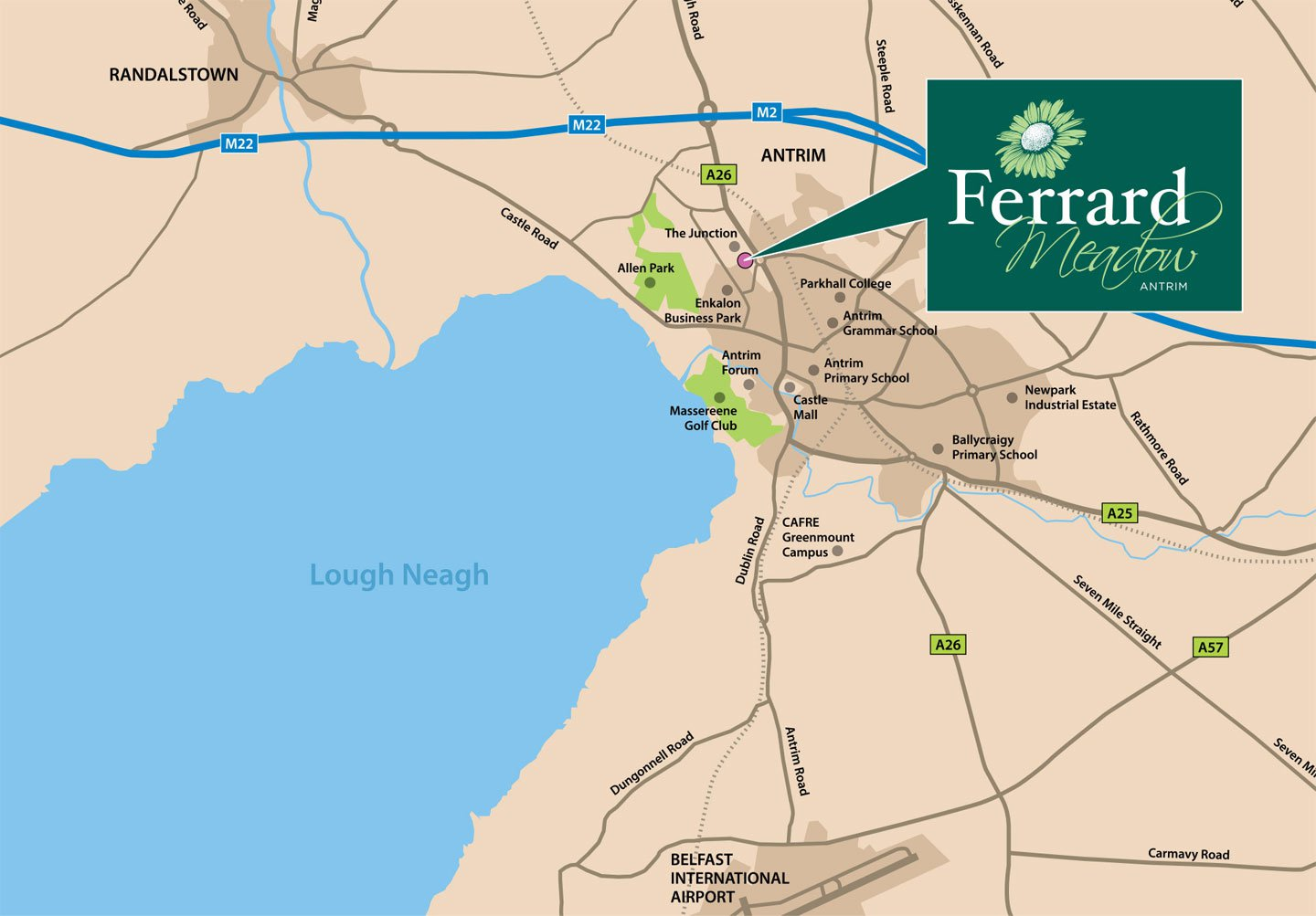 Ferrard Meadow, Antrim, Location Map